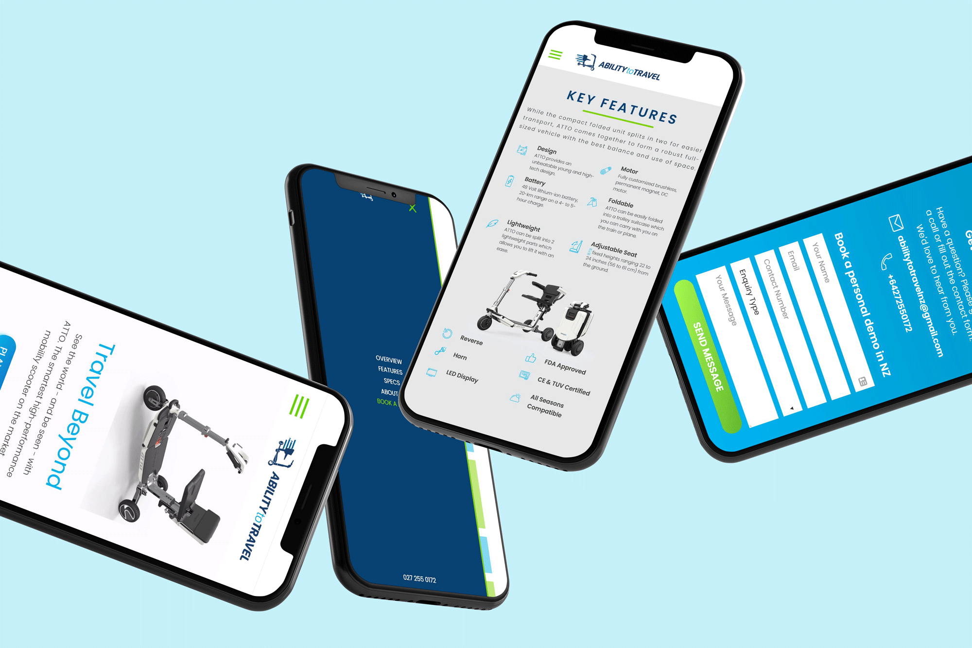Ability to Travel - Mobile website design on 4 iPhones