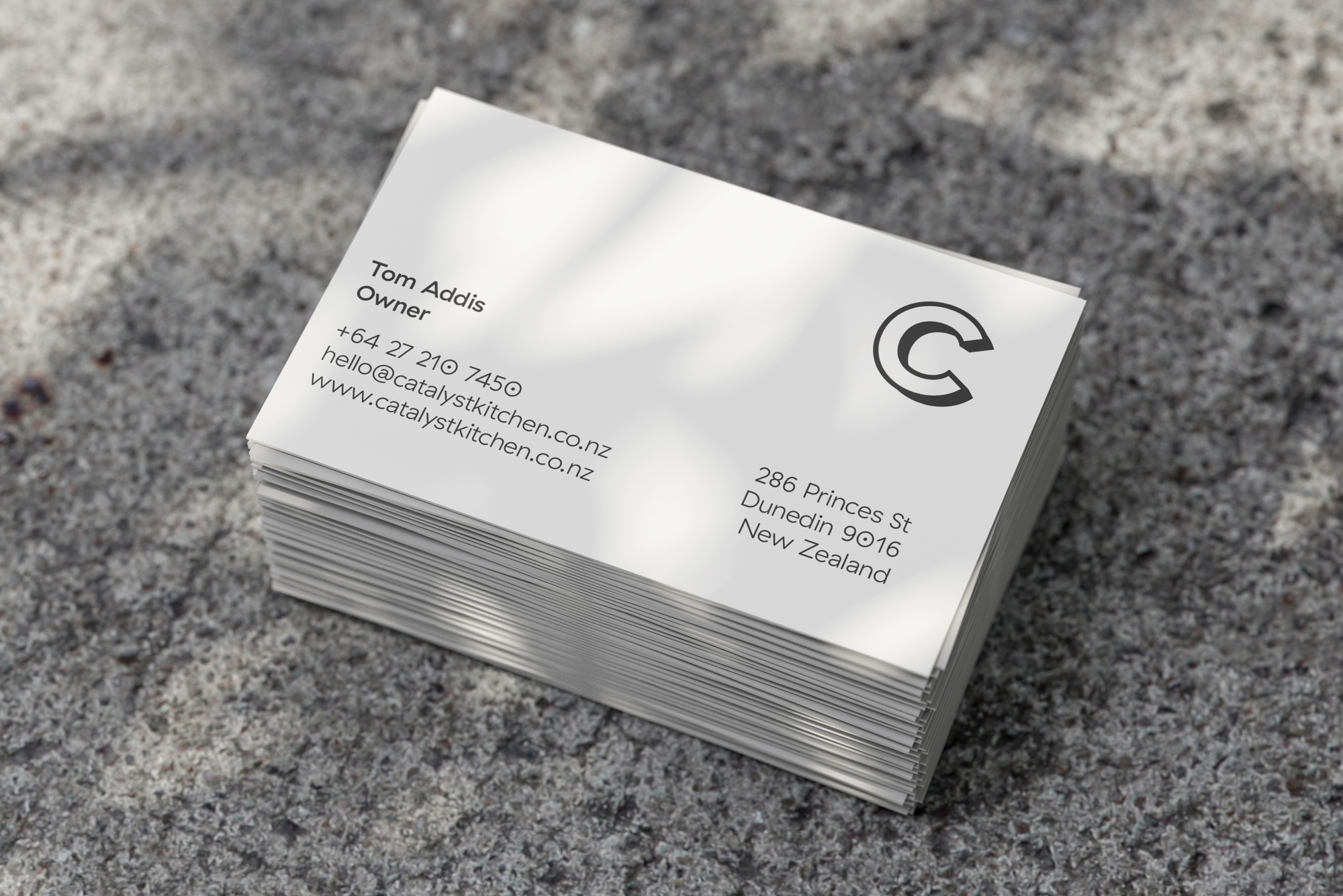Catalyst - Business cards on concrete