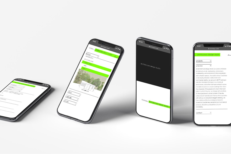 Architecture Design Studio - 4x Mobiles displaying website