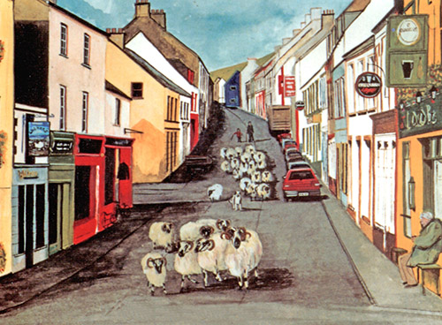 It Must Be Dingle! print of sheep being driven down Main Street