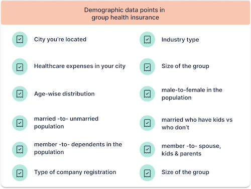 Demographic data points in group health insurance