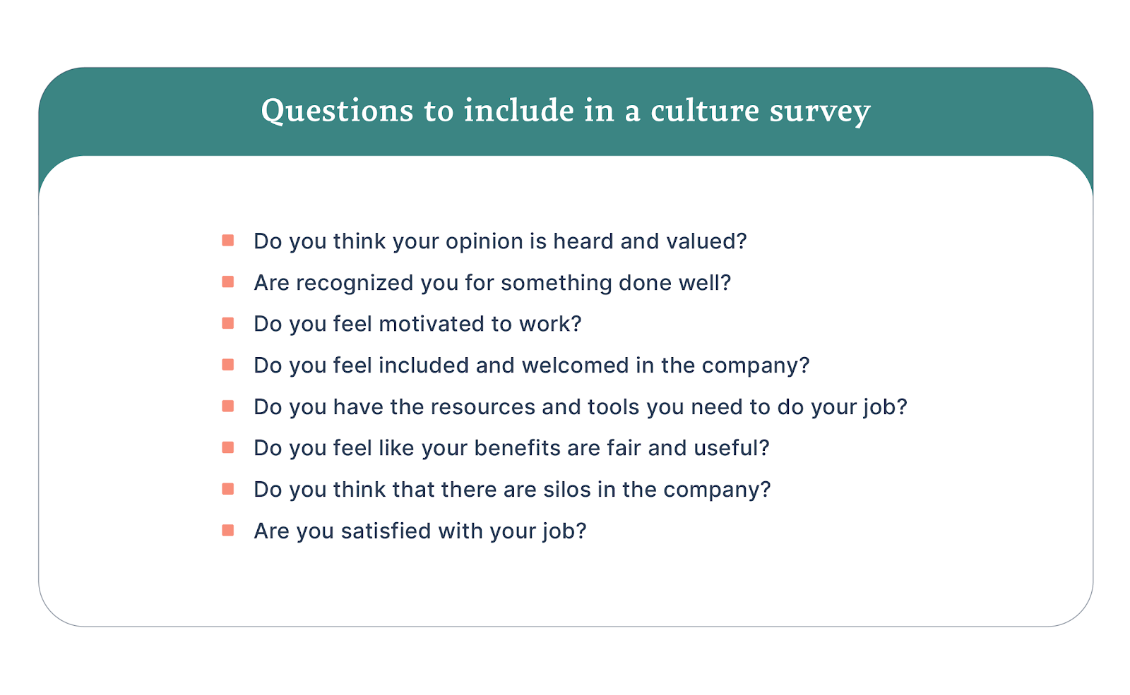 Questions to include in a culture survey