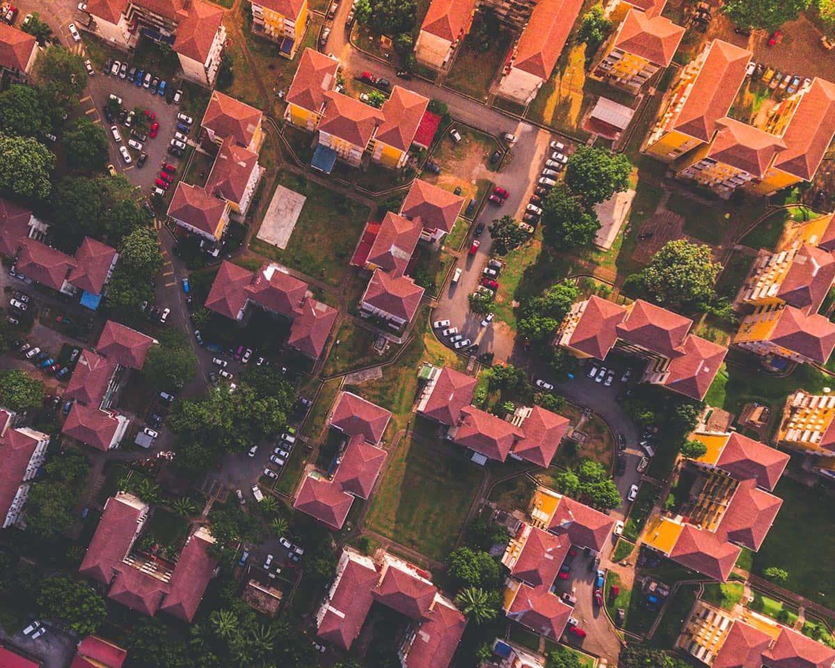 Multi-unit homes in a city.