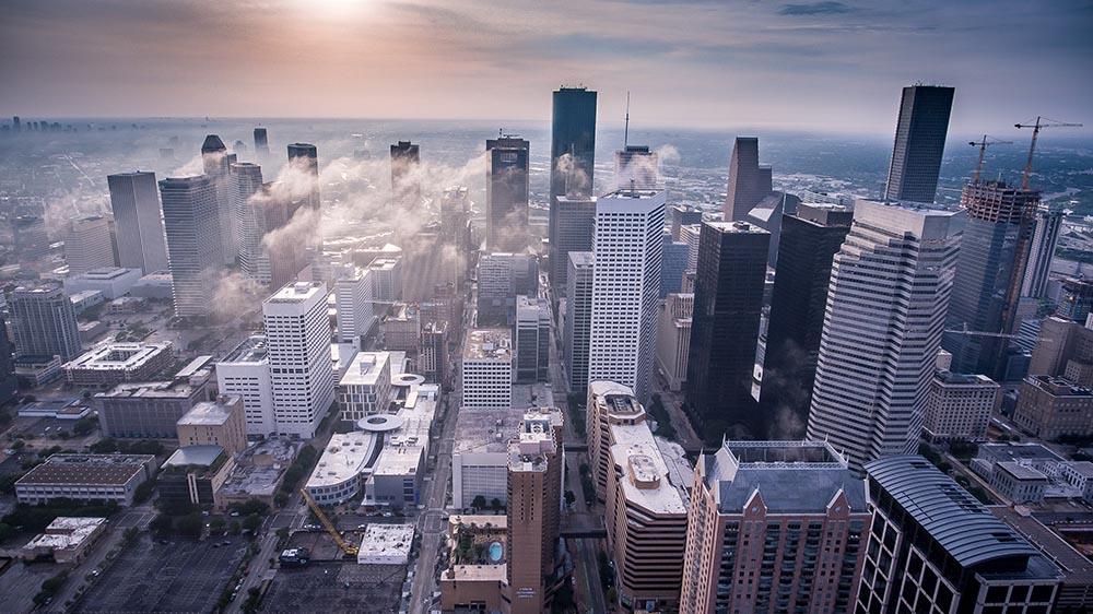 Downtown Houston skyline at dawn.