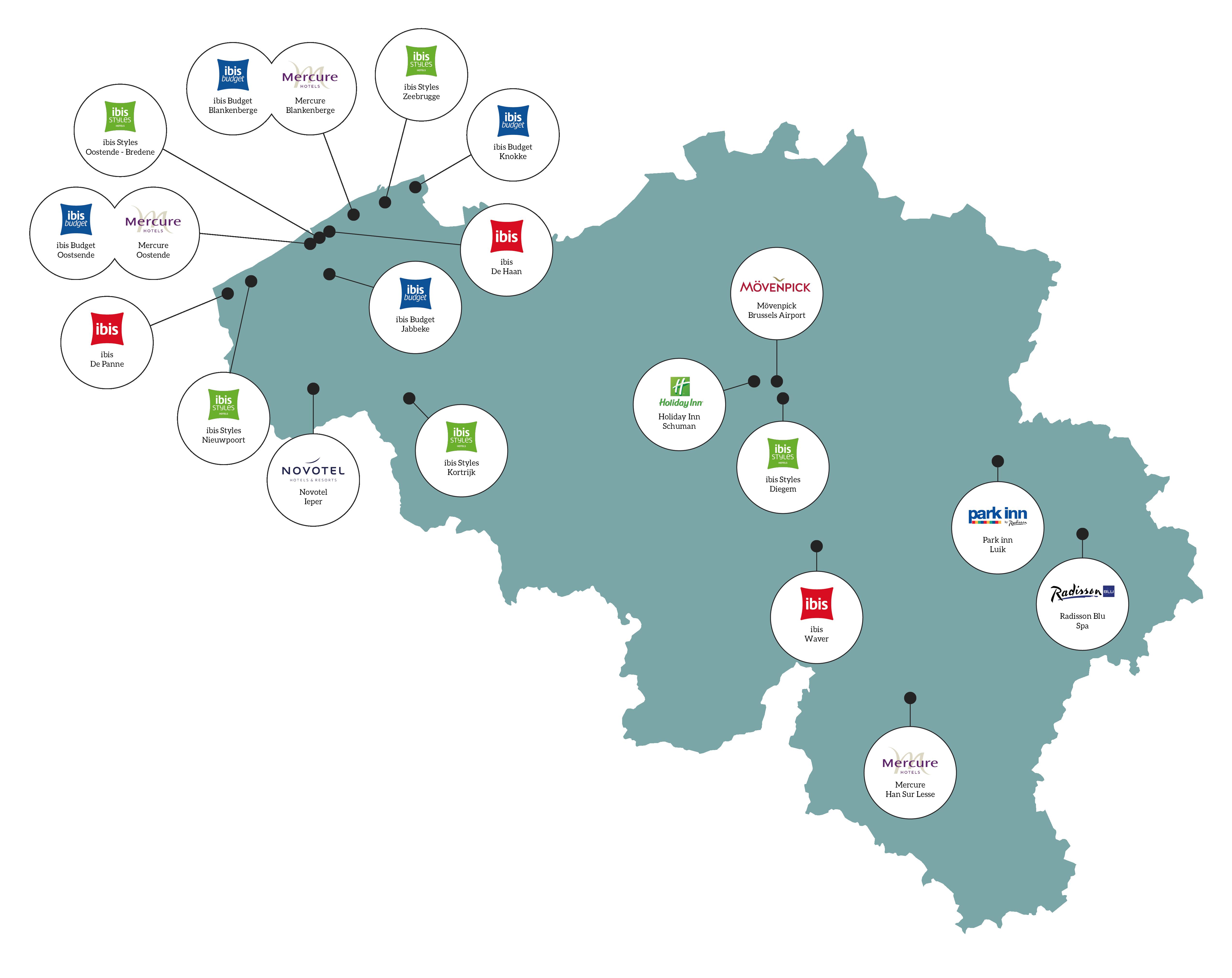 kaart uitbater hotels in België