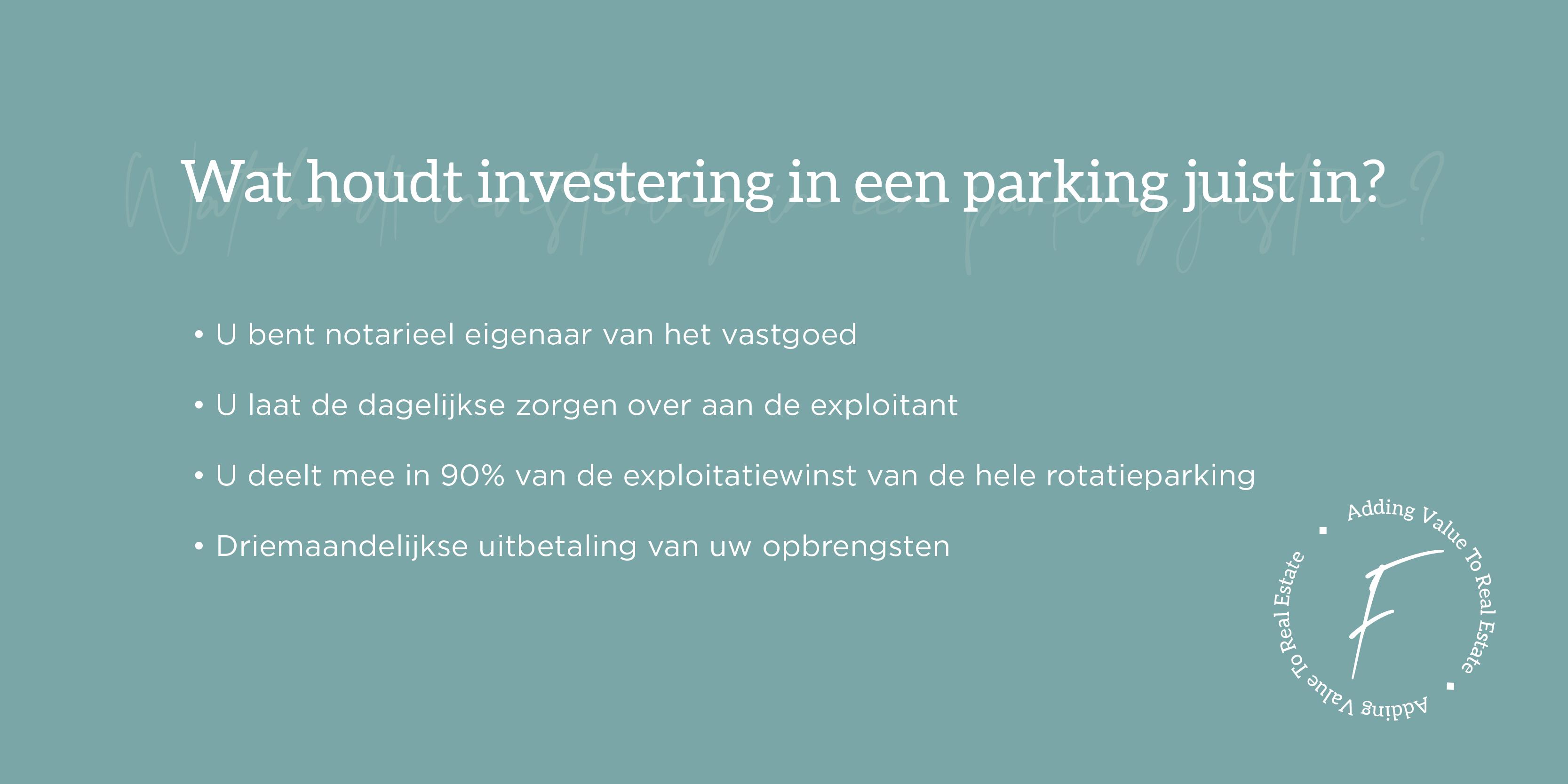Waarom investeren in parkings
