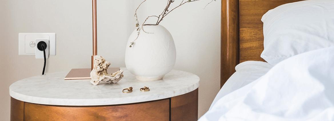 Smart plug bedroom side table