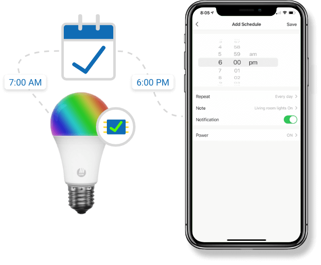 Smart Bulb schedule saved locally