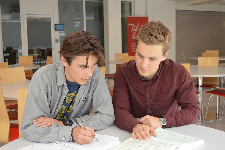 Anders og Andreas jobber med matte sammen.