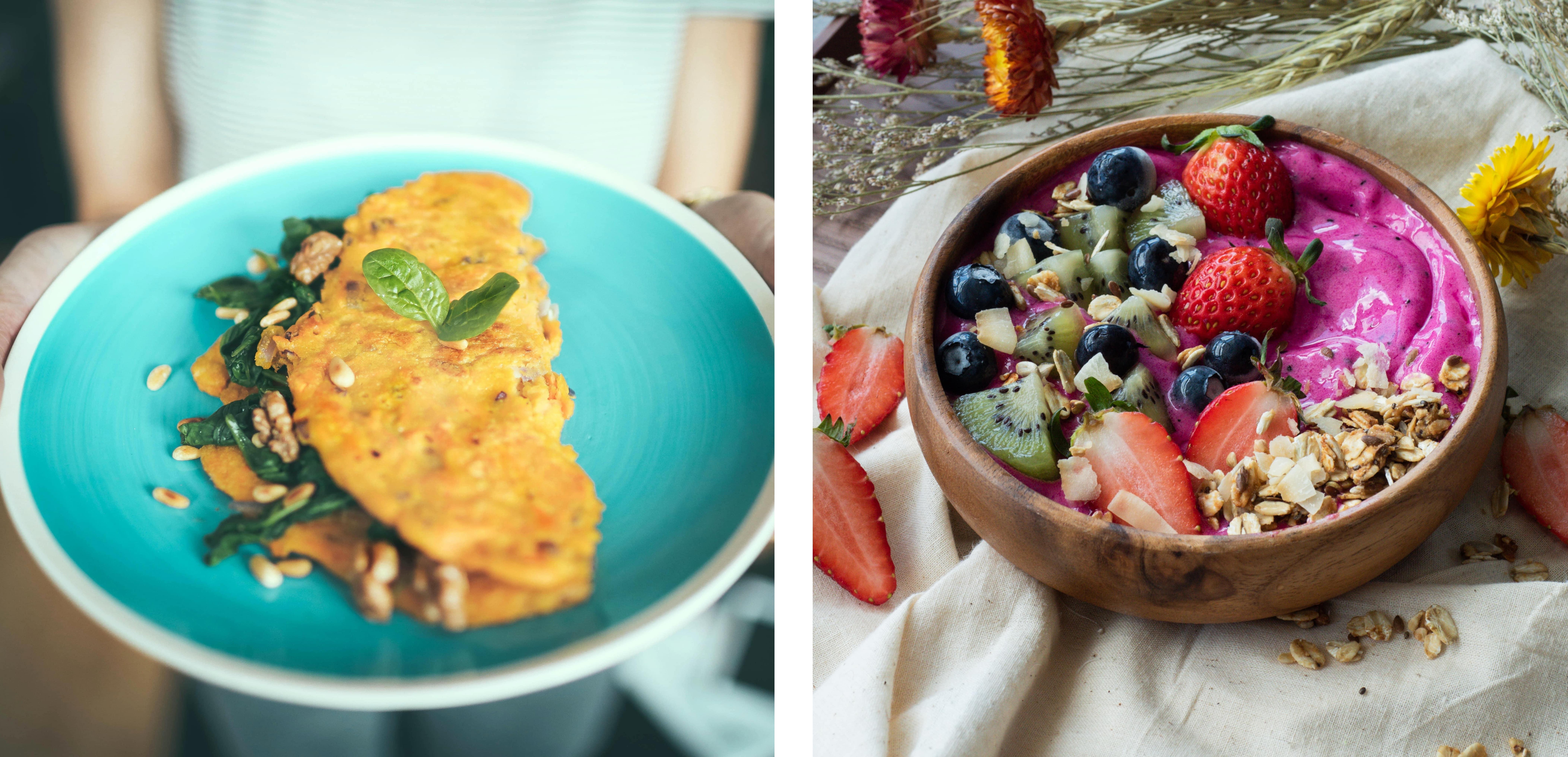omelett og smoothie bowl