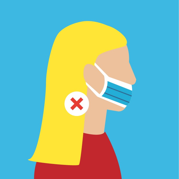 illustration of a woman incorrectly wearing a mask with her nose and chin exposed