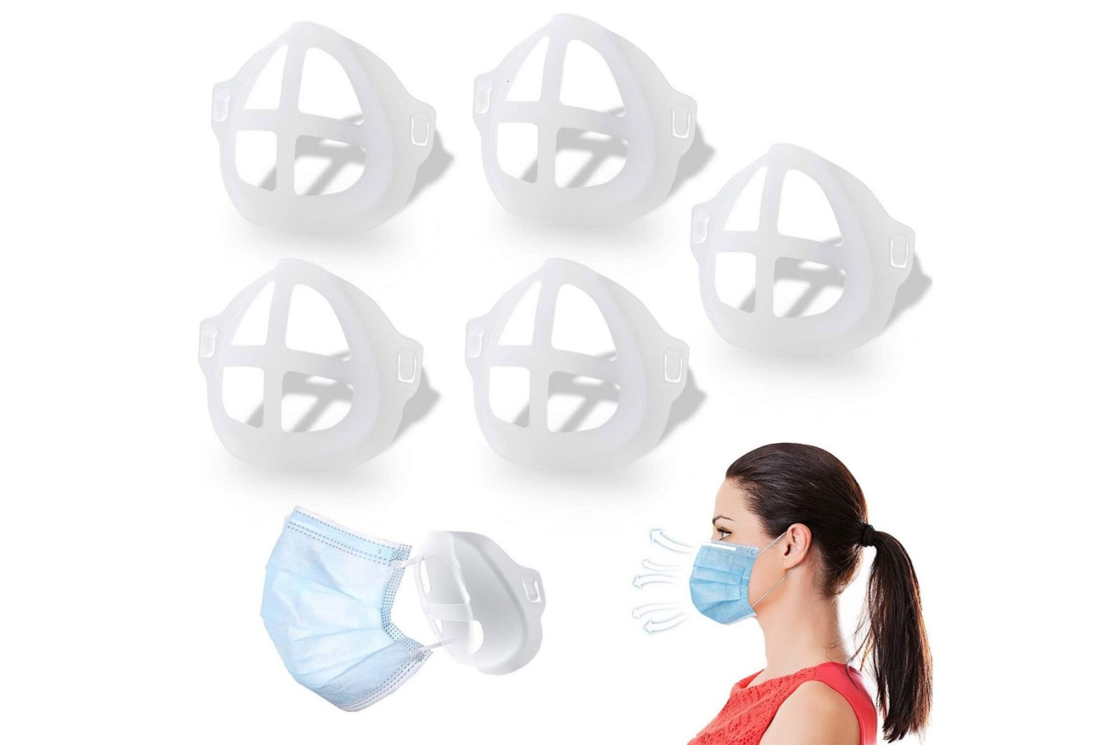 Face mask brackets in white