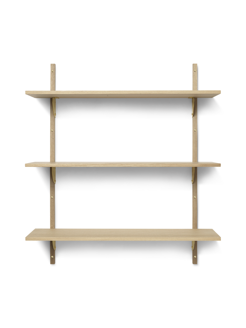 Sector Shelf - Triple - Wide - Natural - Brass