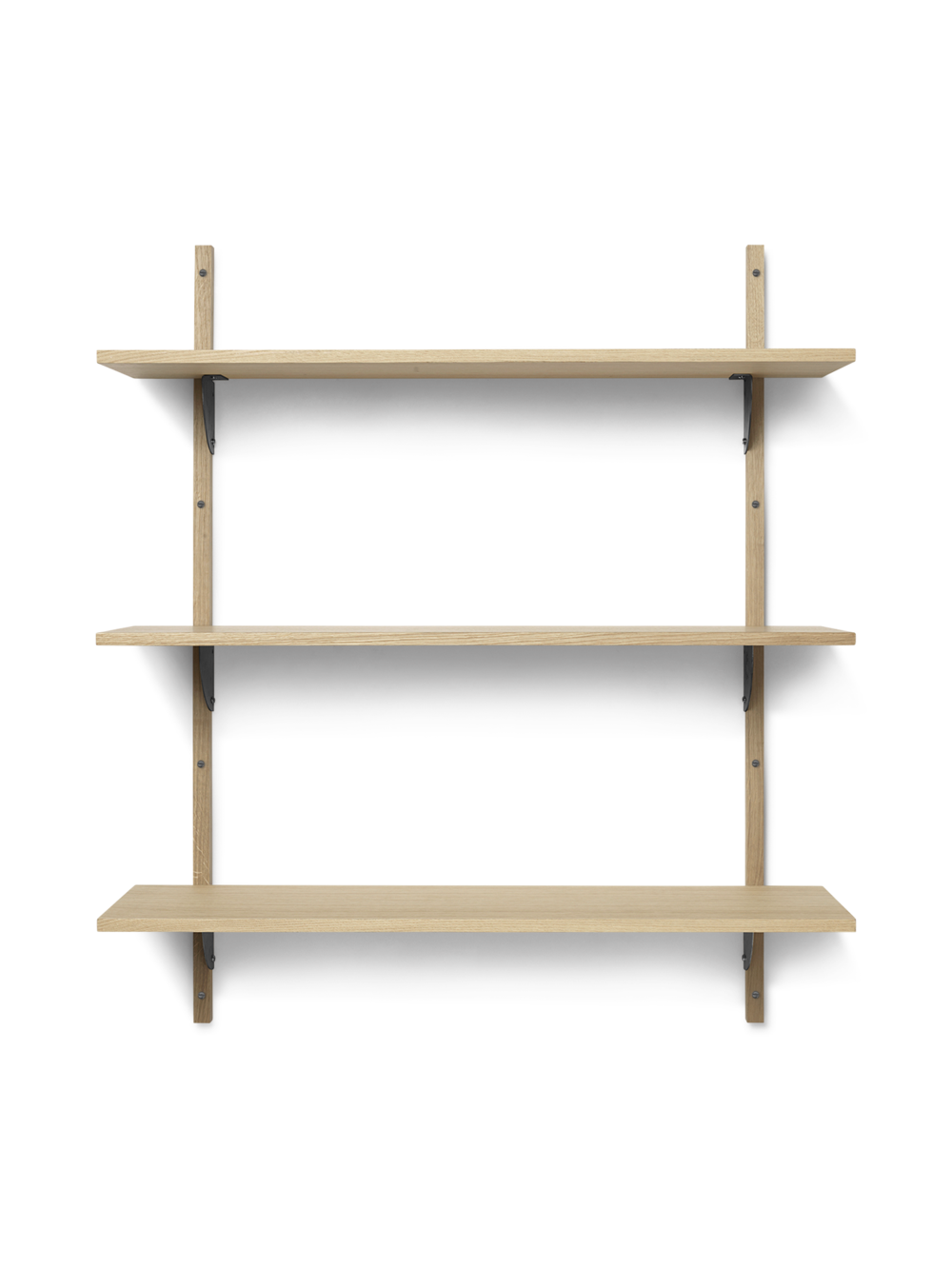 Sector Shelf - Triple - Wide - Natural - Black Brass