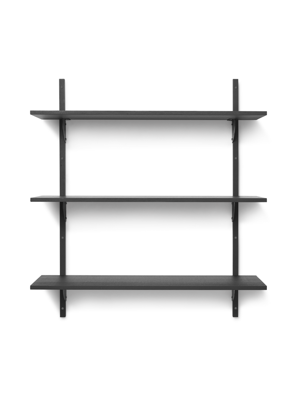 Sector Shelf - Triple - Wide - Dark Stained Ash - Black Brass