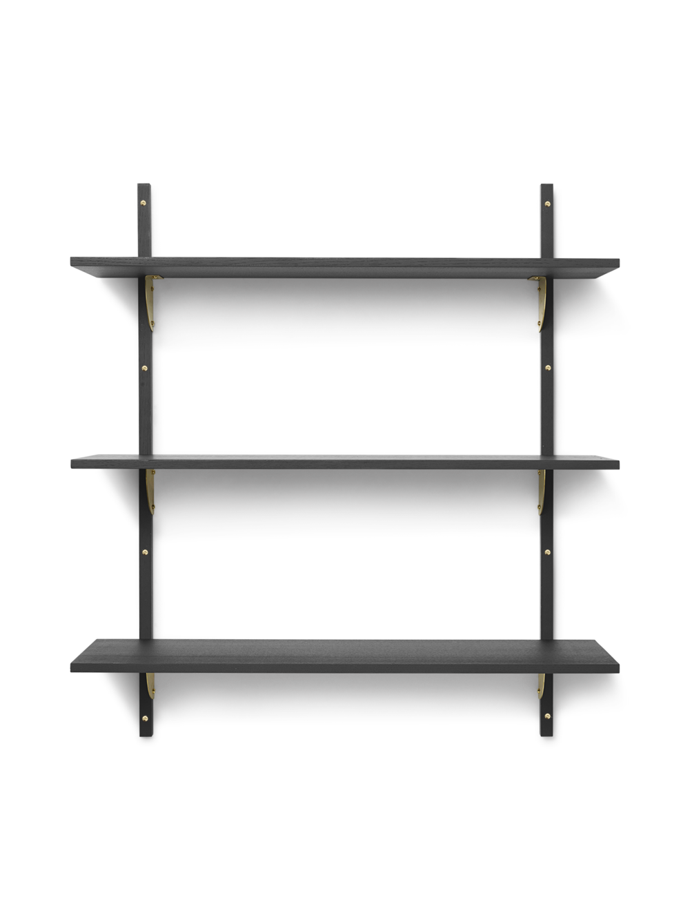 Sector Shelf - Triple - Wide - Dark Stained Ash - Brass