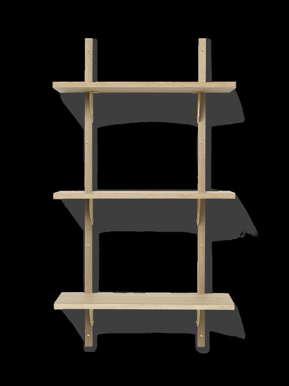 Sector Shelf - Triple - Narrow - Natural - Brass