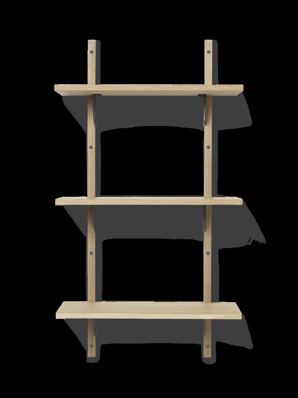Sector Shelf - Triple - Narrow - Natural - Black Brass