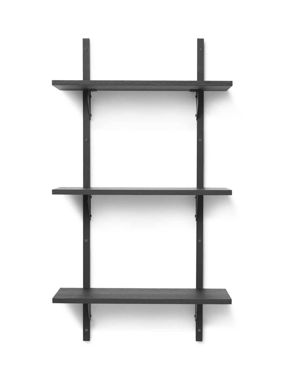 Sector Shelf - Triple - Narrow - Dark Stained Ash - Black Brass