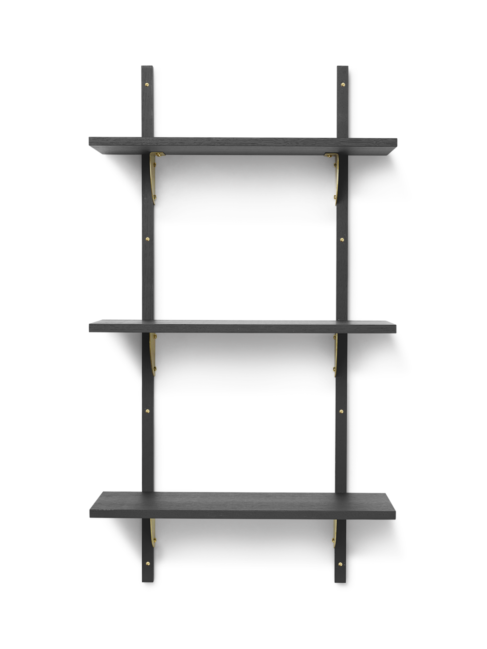 Sector Shelf - Triple - Narrow - Dark Stained Ash - Brass