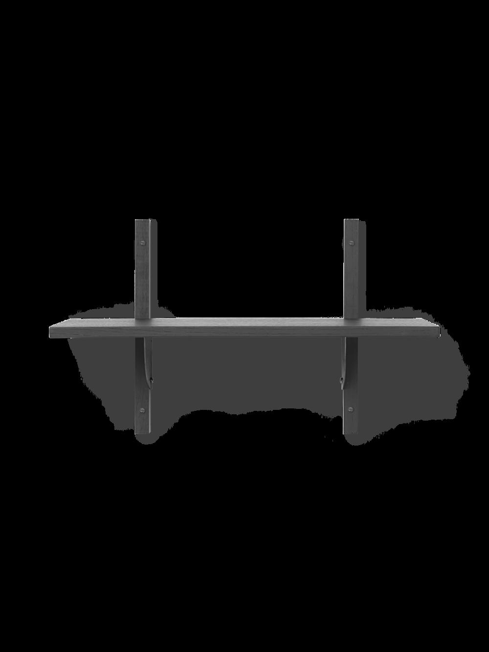 Sector Shelf - Single - Narrow - Dark Stained Ash - Black Brass