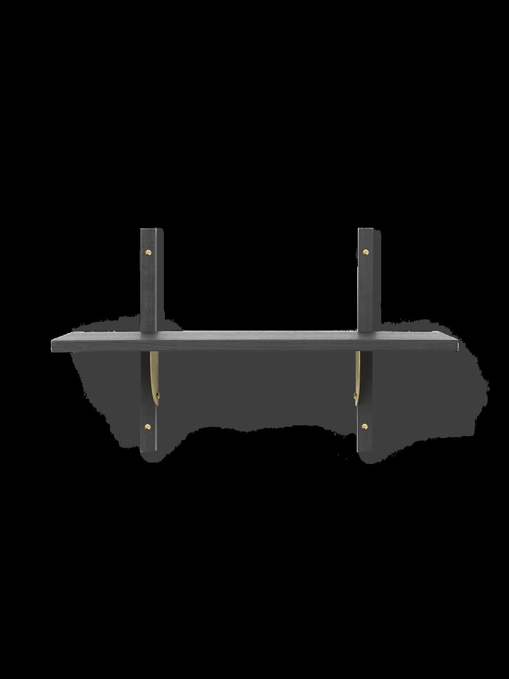 Sector Shelf - Single - Narrow - Dark Stained Ash - Brass