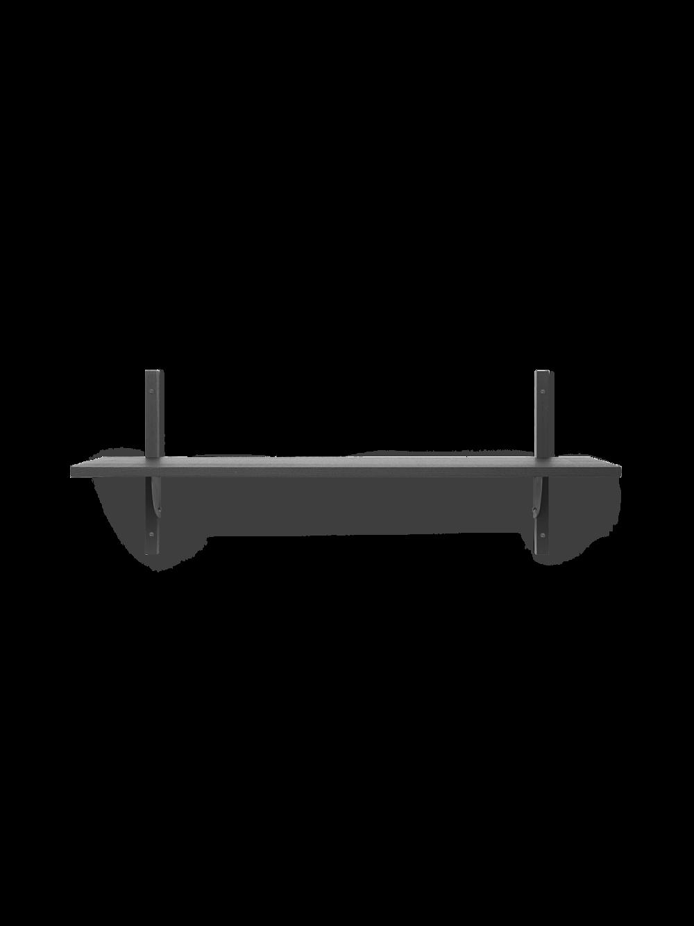 Sector Shelf - Single - Wide - Dark Stained Ash - Black Brass