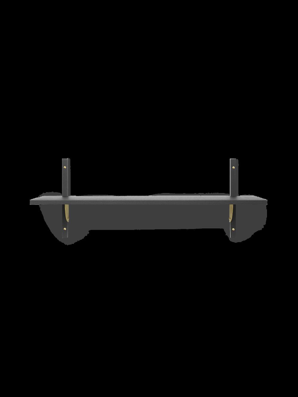 Sector Shelf - Single - Wide - Dark Stained Ash - Brass