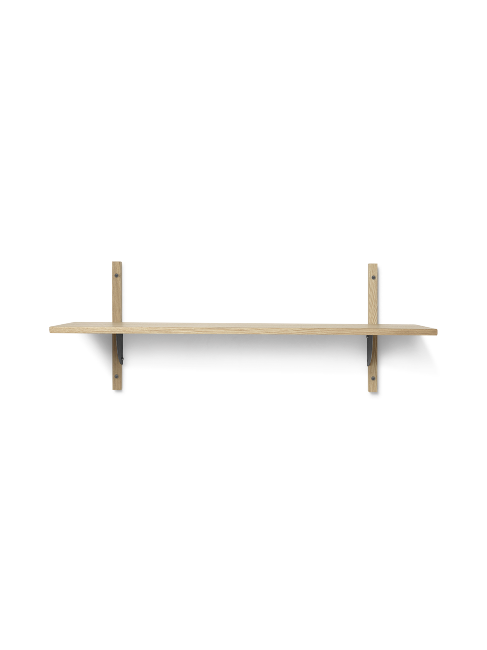 Sector Shelf - Single - Wide - Natural - Black Brass