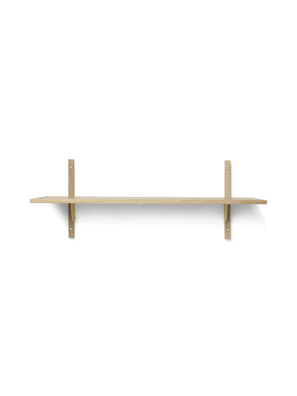 Sector Shelf - Single - Wide - Natural - Brass