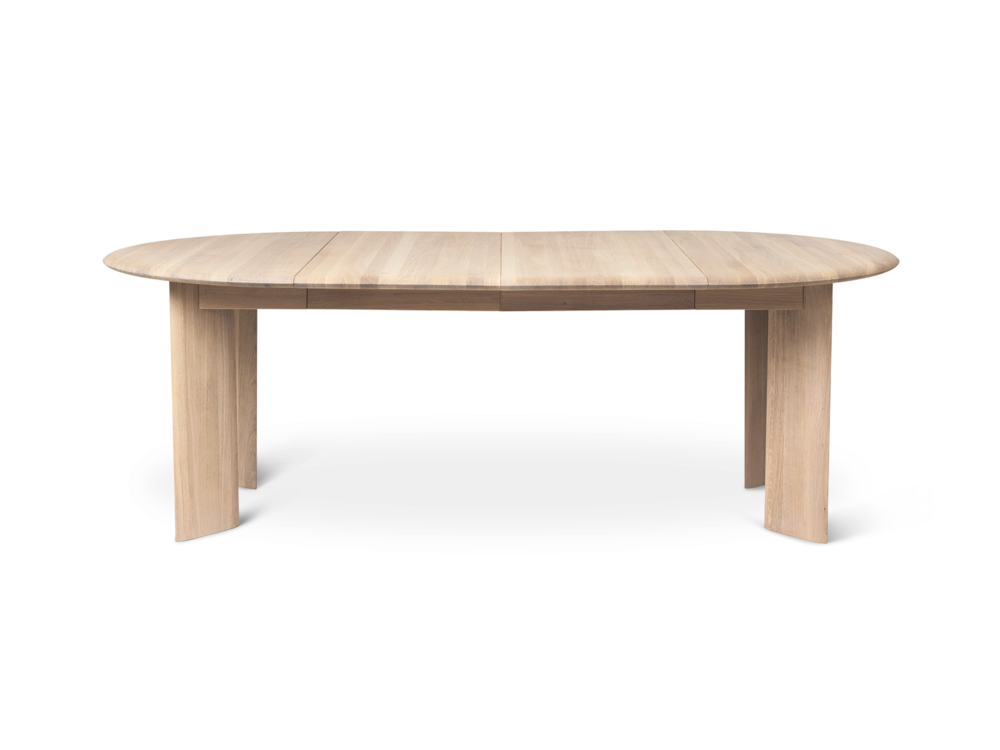 Bevel Table - White Oiled Oak - Extendable Ø117-217cm