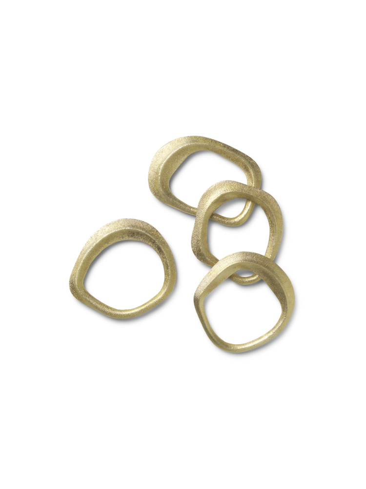 Flow Napkin Rings - Set Of 4 brass