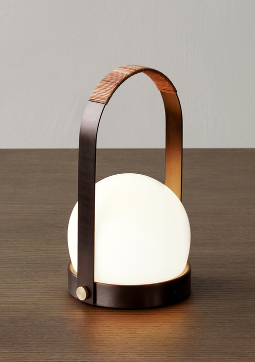 Carrie Table Lamp Bronzed Brass Leather