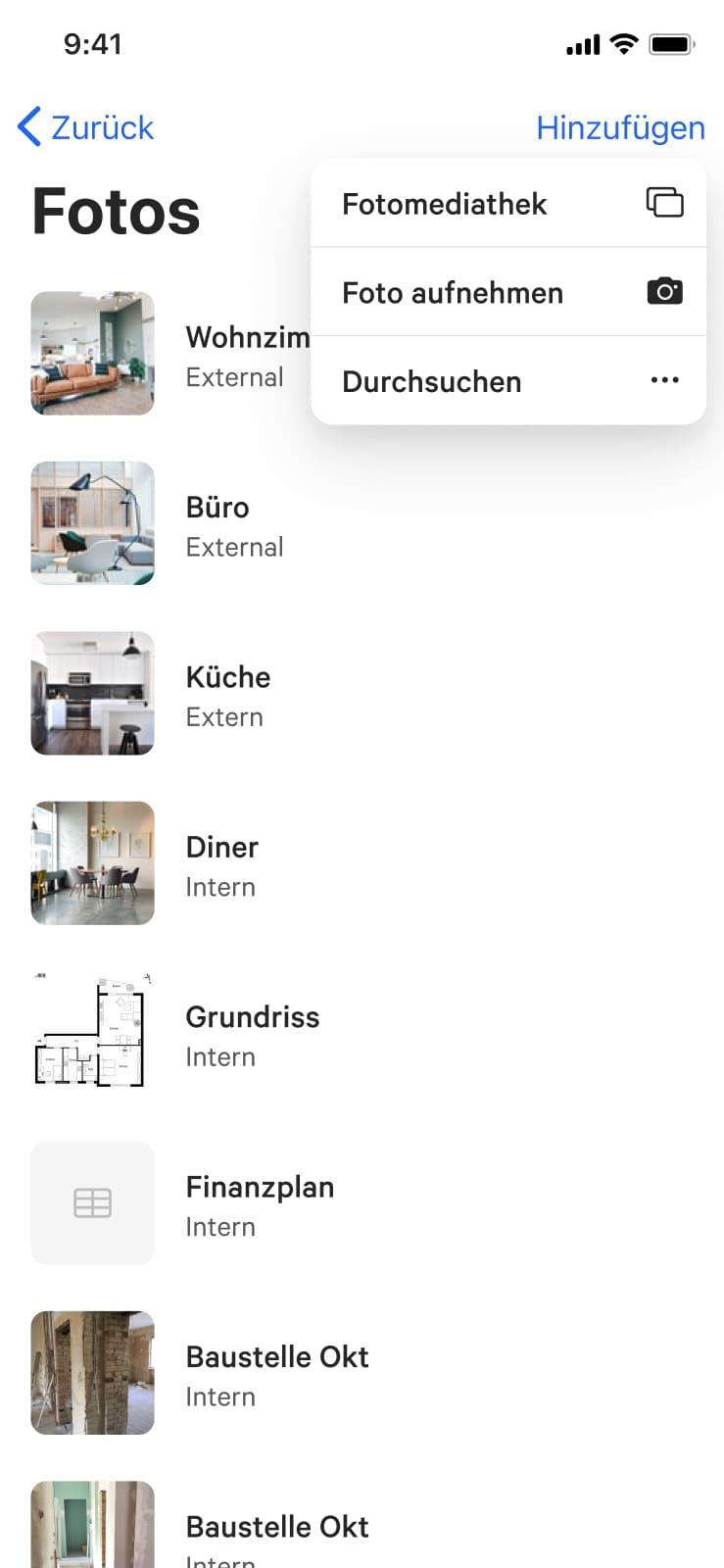 Übersicht der Objektdokumenten innerhalb der REO iOS Mobile Applikation.