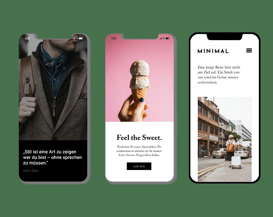 Mobilfreundliche Webseite von Newarts. Deine Webseite passt sich an mobile Endgeräte perfekt an.