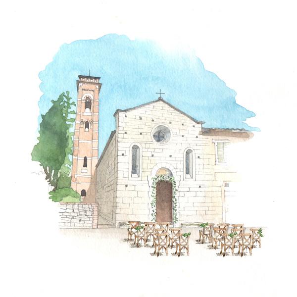 acquerello chiesa matrimonio