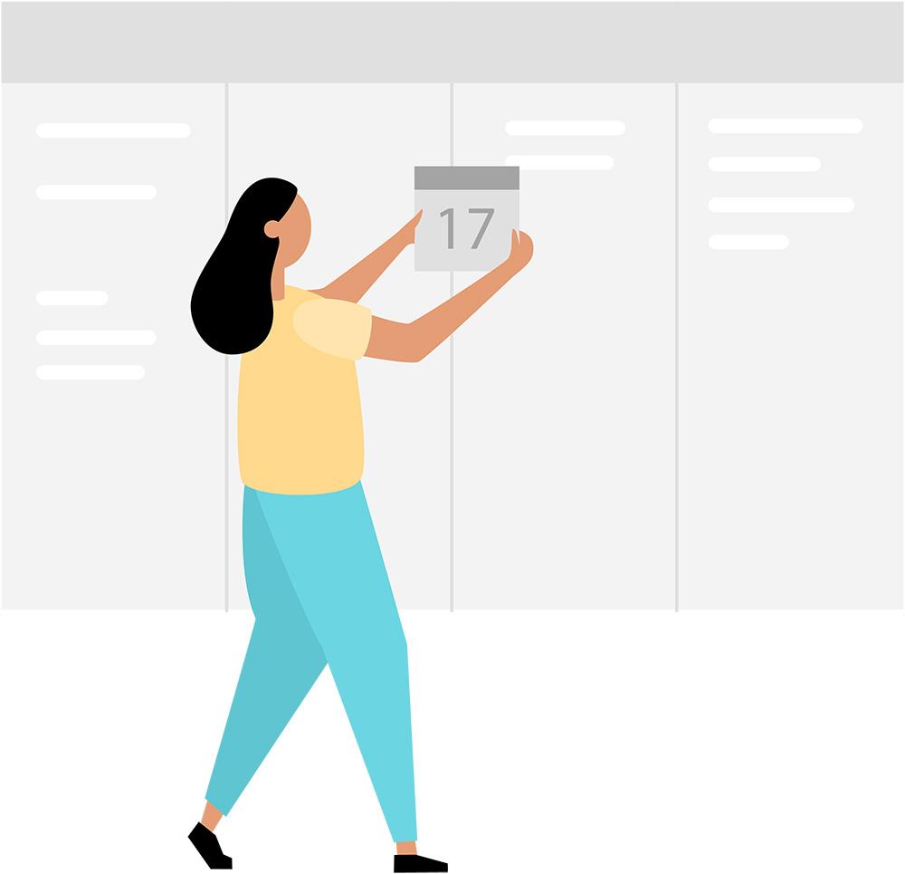 lady changing calendar