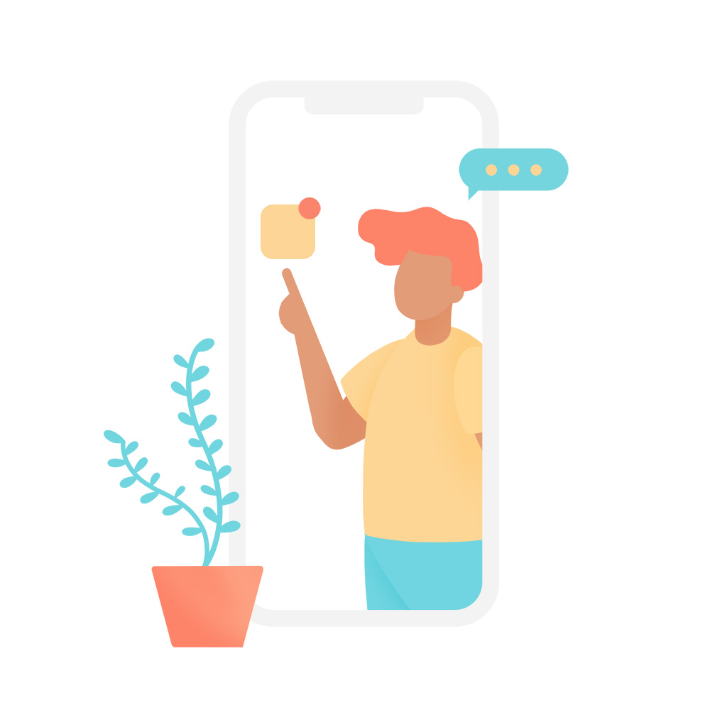 plant and cellphone