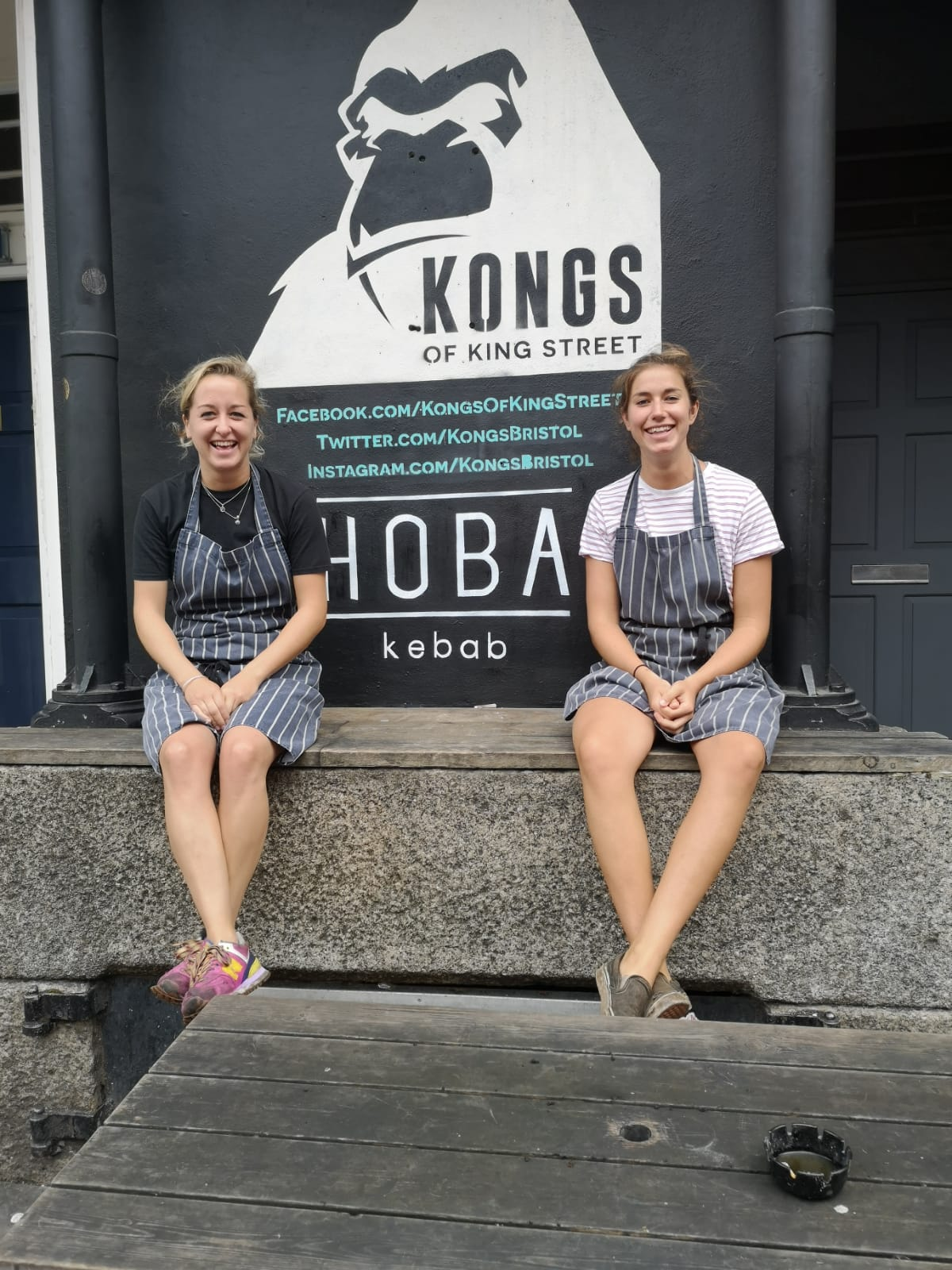 Hoba kebab founders sitting outside kongs