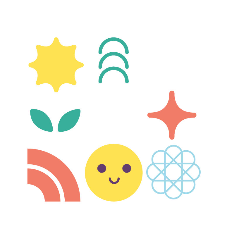 A Playfull set of icons representing Active Learning