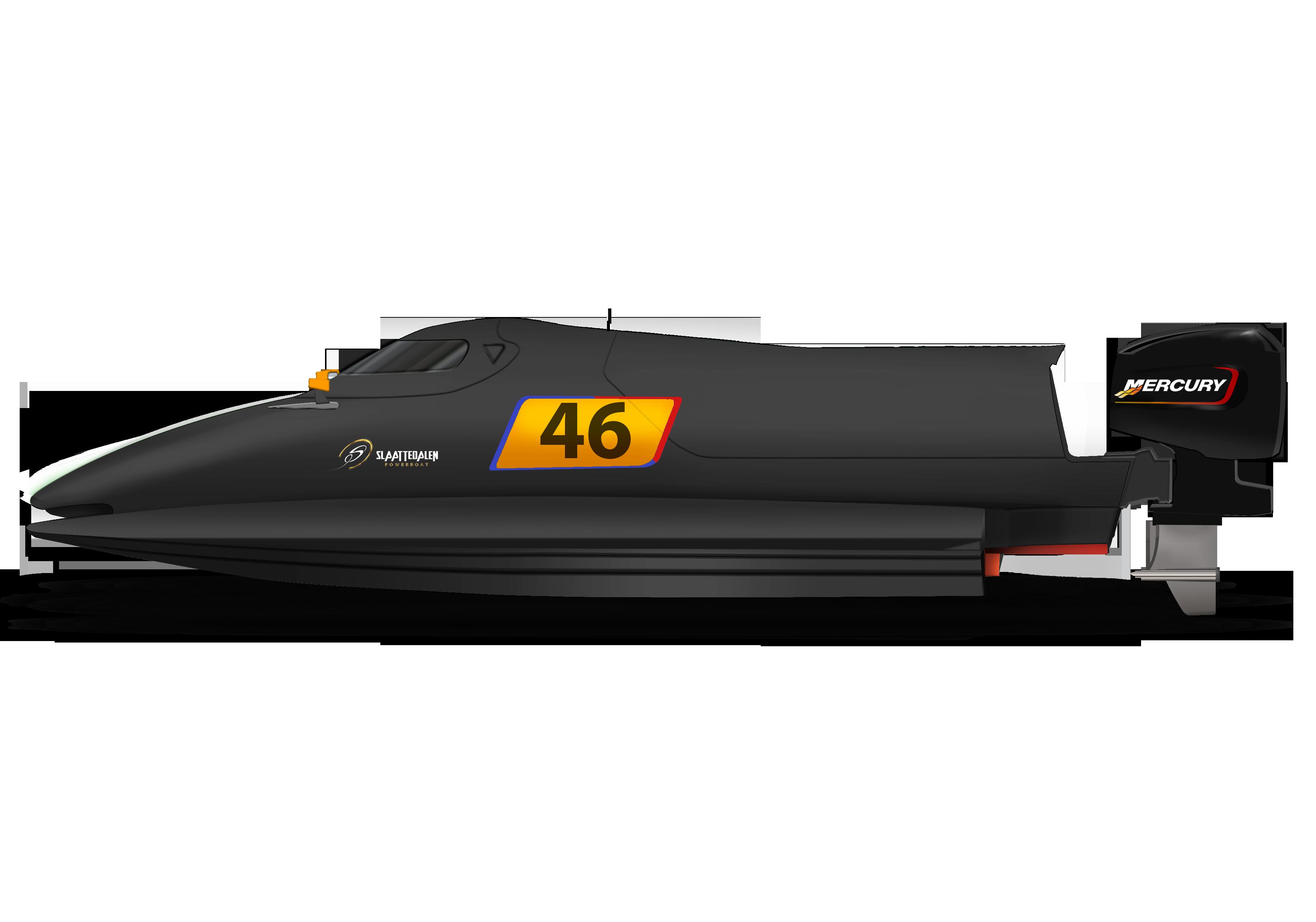 3D tegning av F2 racerbåt