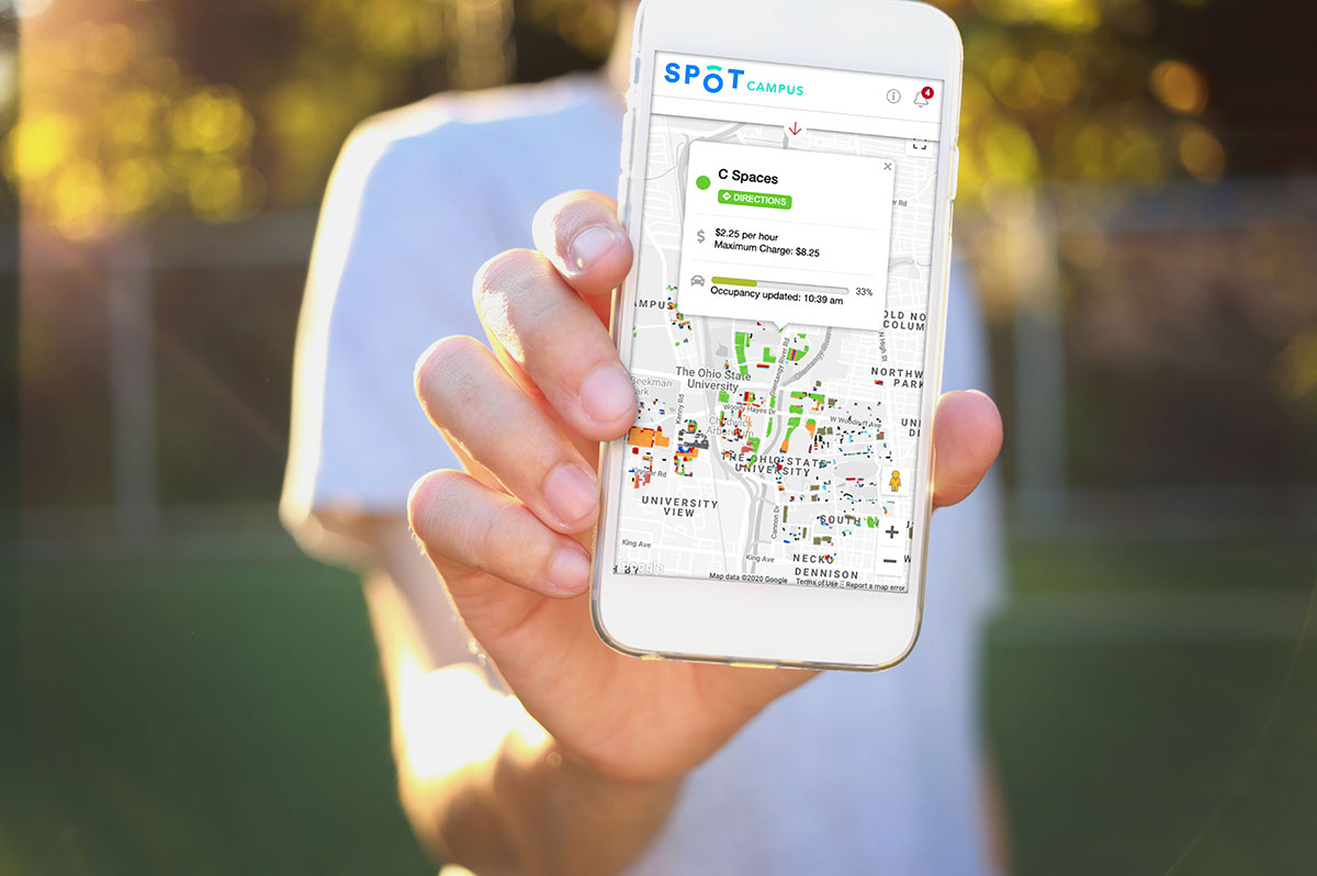 A smartphone displaying Spot Parking's user-friendly and efficient parking features