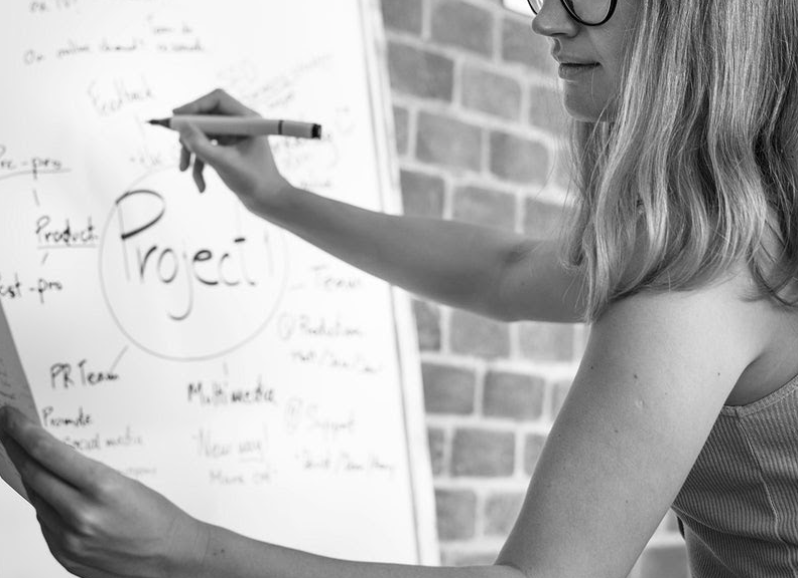 A woman writing on a whiteboard, brainstorming to represent how Spot Parking thinks and acts like a startup