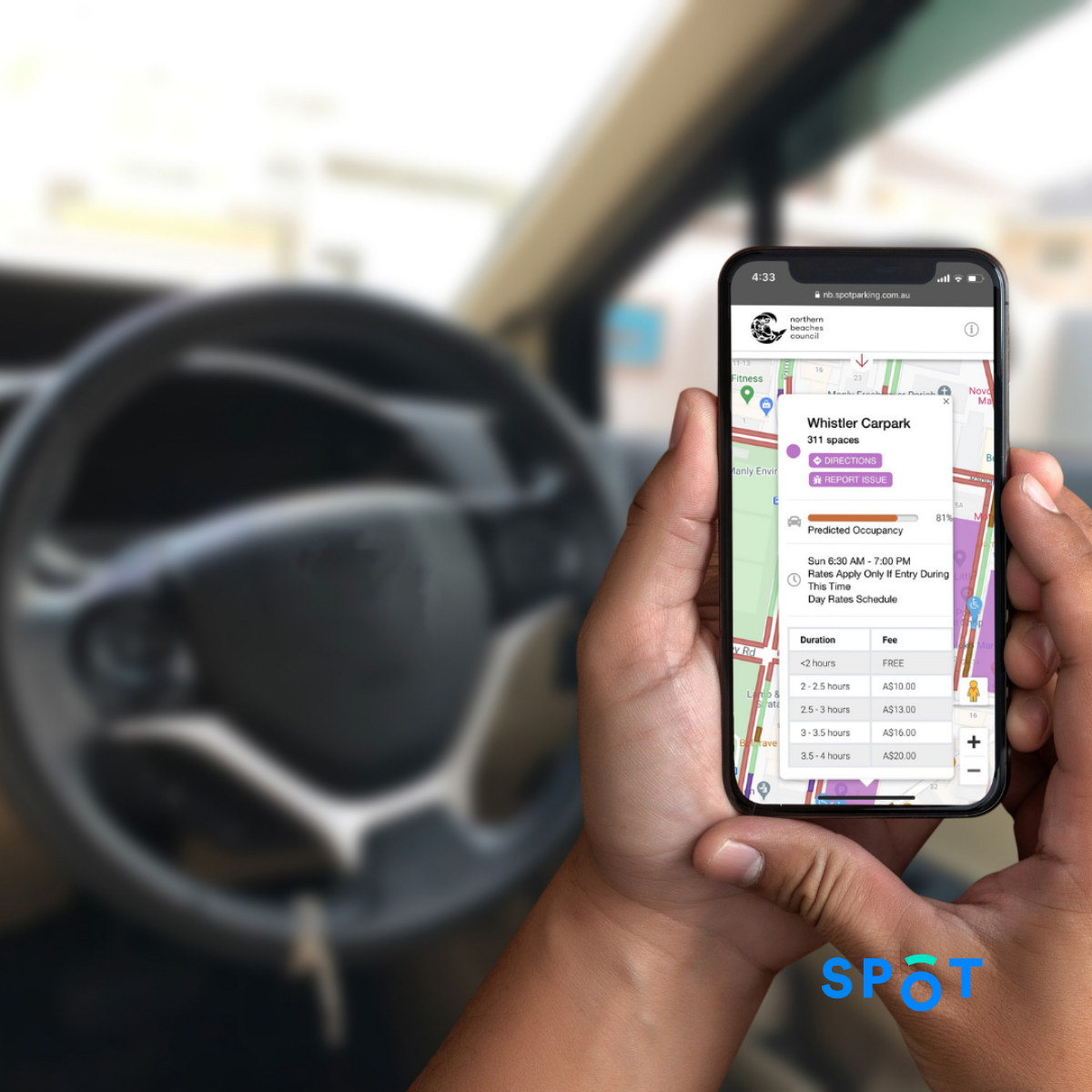 A smartphone displaying Spot's smart parking solutions