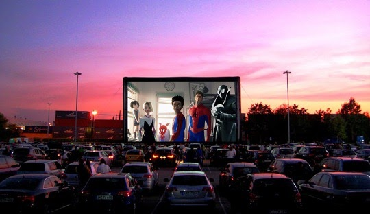 A drive-in movie theater hosted in a vacant parking lot