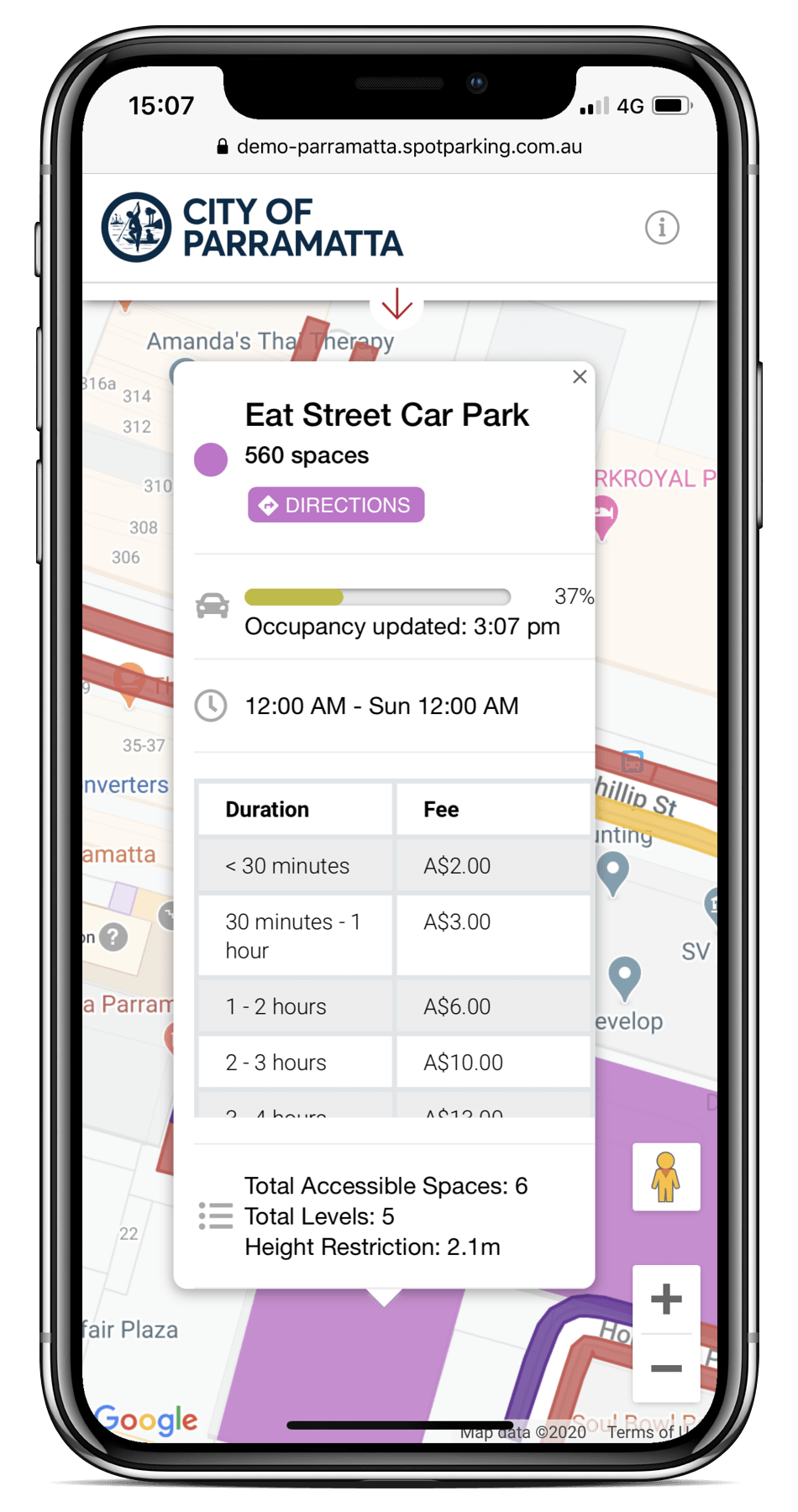 A smartphone displaying Spot Parking Spot Cities technology, that enables customers to view available parking options that adapt to their needs