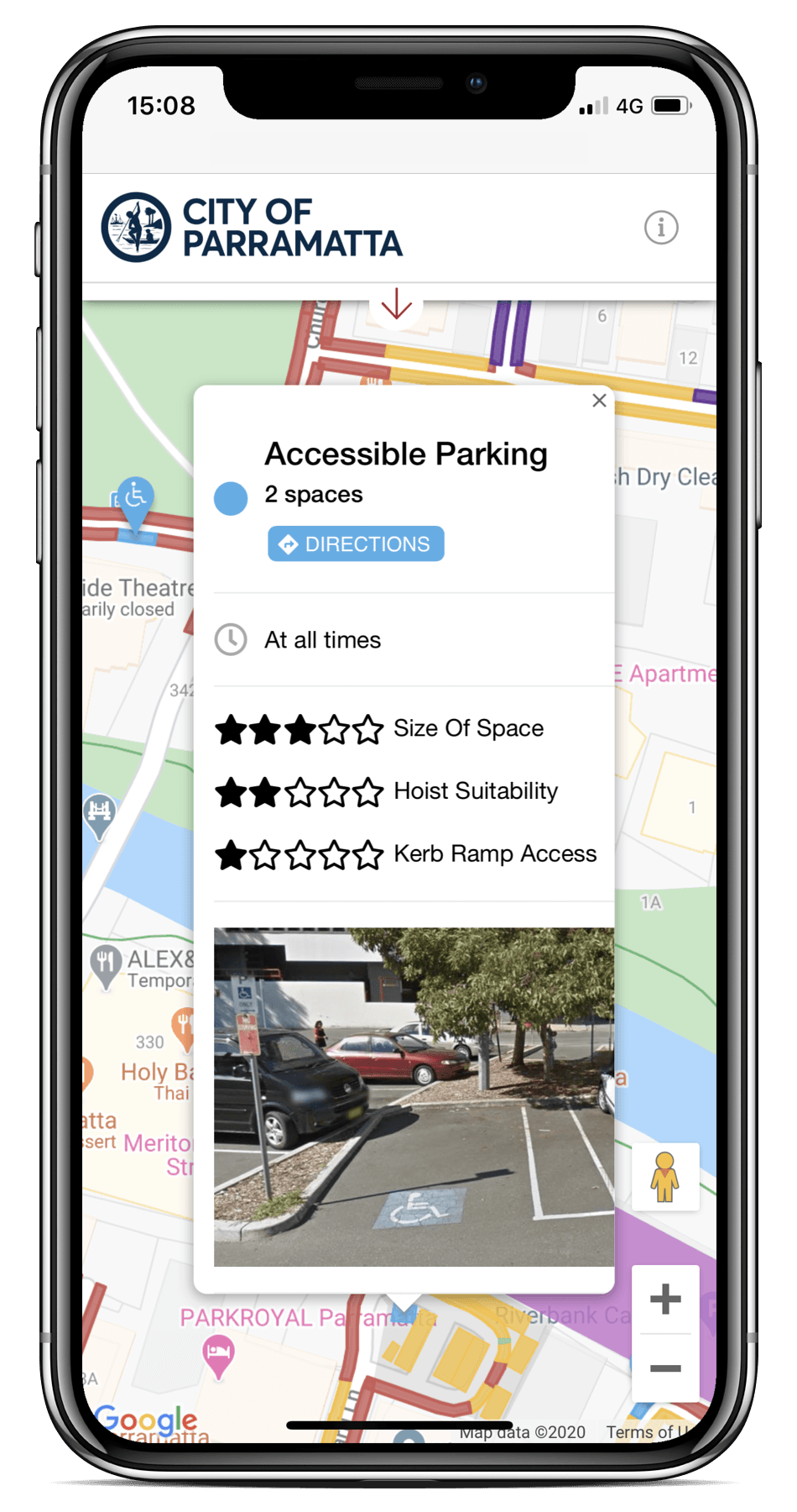 Spot Planner mobile UI checking parking accessibility
