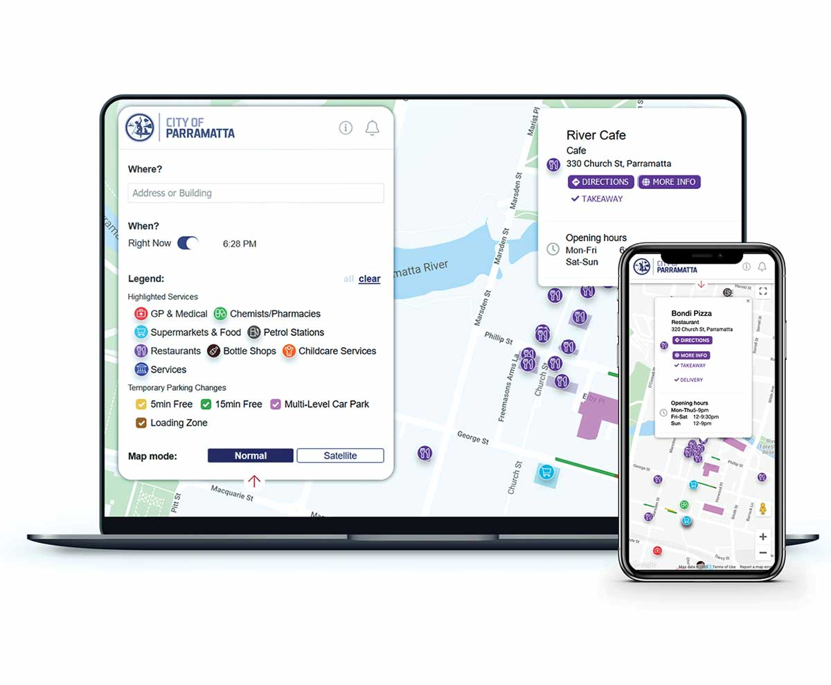 Spot Local parking web interface on laptop and mobile