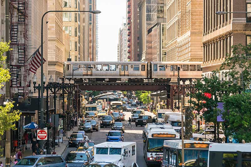 bustling street and traffic downtown Chicago