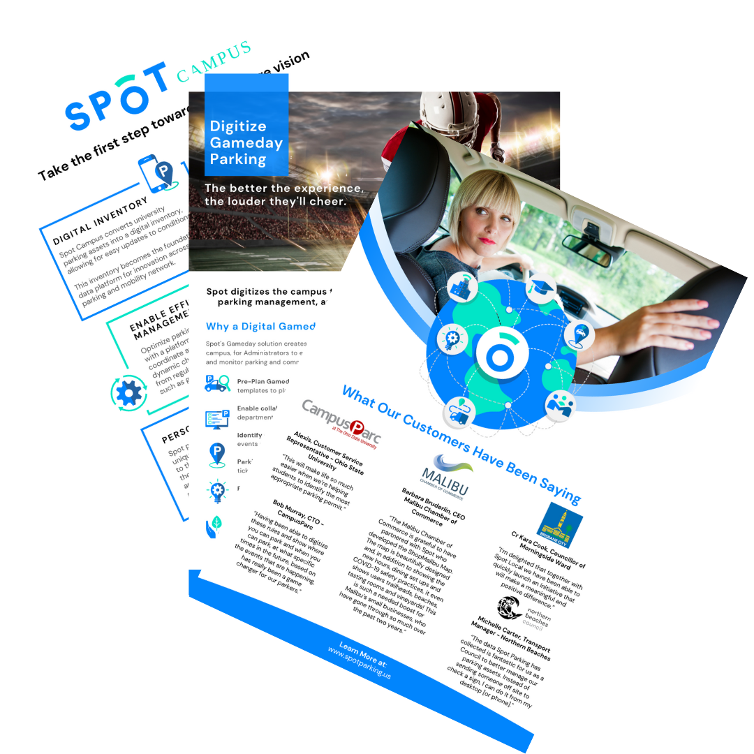 The brochures offered from Spot Parking, innovative parking solutions